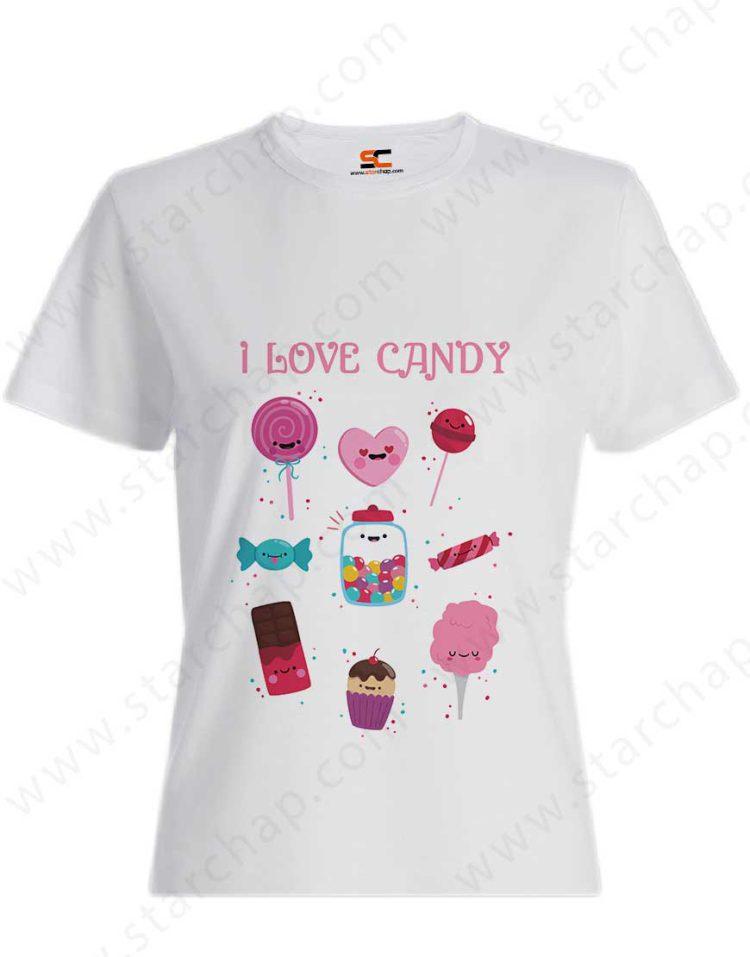تیشرت دخترانه طرح عاشق شیرینی