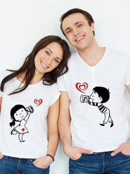 تیشرت ست عاشقانه طرح فانتزی کد(1)